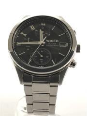 ソーラー腕時計/アナログ/ステンレス/BLK/SLV/VR43-KKD0/8N0644