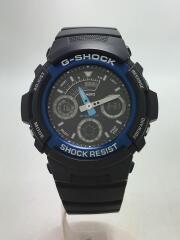 クォーツ腕時計/アナログ/ラバー/BLK/BLK/AW-591-2AJF