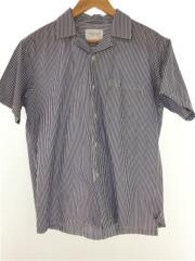 18SS/GIZA綿オープンカラーシャツ/半袖シャツ/38/ブルー/ストライプ/アーバンリサーチ
