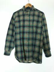70s~80s/ネルシャツ/S/ウール/GRN/チェック