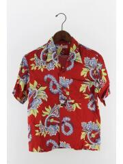 アロハシャツ/半袖シャツ/XS/レーヨン/RED/レッド/総柄/花柄/アメリカンスタイル