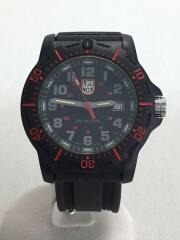クォーツ腕時計/アナログ/ラバー/RED/BLK/レッド/ブラック