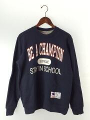 スウェット/S/コットン/NVY/18SS Champion Stay In School Crewneck
