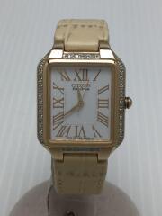 ソーラー腕時計/スクエア/アナログ/レザー/WHT/BEG/EO31-S117798