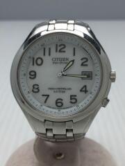 ソーラー腕時計/アナログ/ステンレス/WHT/SLV/ホワイト/シルバー