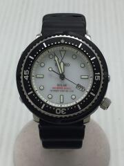 ソーラー腕時計/アナログ/ラバー/WHITE/V147-0CK0
