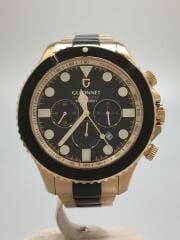 クォーツ腕時計/アナログ/ステンレス/BLK/ブラック/GLD/ゴールド