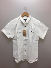半袖シャツ/XL/コットン/WHT/ホワイト
