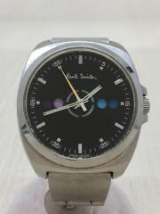 クォーツ腕時計/アナログ/ステンレス/BLACK/SILVER/GN-4-S