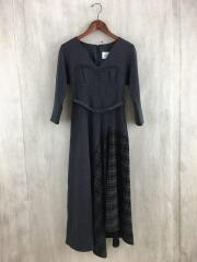 LADY BRITISH LIKE DRESS/長袖ワンピース/S/ポリエステル/GRY