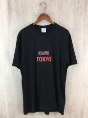 CAFEプリントオーバーサイズT/Tシャツ/M/コットン/BLK/uss197055