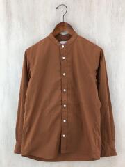 QUICK DRY/タイプライターバンドカラーシャツ/長袖シャツ/1/コットン/BRW