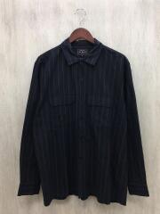 20AW/ストライプオープンカラーシャツ/長袖シャツ/L/コットン/BLK/ストライプ