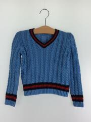 Vネックセーター/サイズ 36m(100cm前後)/コットン/BLU/無地