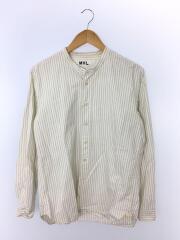 バンドカラーシャツ/596-7250506/L/コットン/WHT/ストライプ