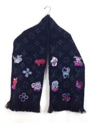 エシャルプ・ロゴマニアスーパースティション/M71578/マフラー/ブラック/干支/刺繍