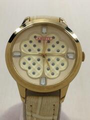 クォーツ腕時計/アナログ/レザー/クリーム/ホワイト