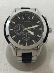 AX1214/クォーツ腕時計/アナログ/ステンレス/BLK/SLV/ブラック/シルバー