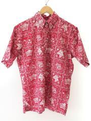 アロハシャツ/ハイビスカス柄/半袖シャツ/M/コットン/レッド/プルオーバー/ハワイ製