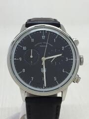 クォーツ腕時計/アナログ/レザー/ネイビー/ブラック/DF-9003