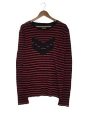 ロンT/長袖Tシャツ/2/レーヨン/レッド/ブラック/ボーダー/222090204-1845/USA製