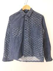 長袖シャツ/オープンカラー/日本製/ネイビー/ペーズリー/総柄/ボタン欠品/汚れ有