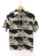 アロハシャツ/鶴/和柄/M/レーヨン/ブラック/イオラニ/日本製/柄シャツ