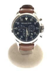 クォーツ腕時計/アナログ/レザー/ネイビー/ブラウン/MK8362/箱