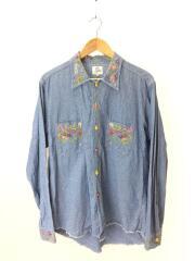 刺繍シャンブレーシャツ/長袖シャツ/M/花柄刺繍/コットン/インディゴ