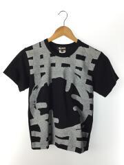 19SS/コーティングプリントTシャツ/XS/コットン/BLK