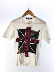Tシャツ/S/コットン/WHT/パッチワークTシャツ/スタッズ/装飾
