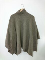 セーター(厚手)/FREE/ウール/BRW/20AW/ラムウールナイロンオーバーニットポンチョ