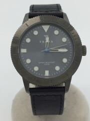クォーツ腕時計/アナログ/レザー/BLU/BLK