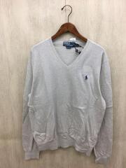 セーター(薄手)/L/コットン/GRY
