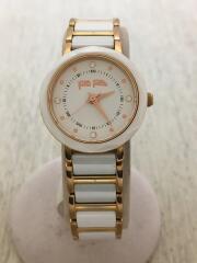クォーツ腕時計/アナログ/WHT/GLD/WF14R033BS/箱有/ベルト小傷有り