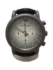 クォーツ腕時計/アナログ/ラバー/BLK/ORN/AR-11174