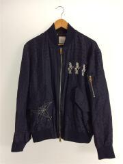 SYARジャガードボンバージャケット/985TP/L/レーヨン/NVY/ラビット