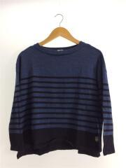 セーター(厚手)/FREE/ウール/BLU/ボーダー