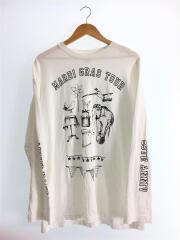 長袖Tシャツ/XXL/コットン/WHT/プリント/黒