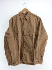 HERRINGBONE WORK SHIRT/ヘリンボーンワークシャツ/--/コットン/BEG/無地