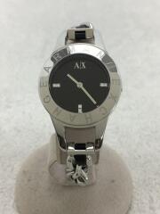 クォーツ腕時計/アナログ/ステンレス/ブラック文字盤/SLV/AX4144/チェーン×レザーベルト