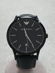 エンポリオアルマーニ/クォーツ腕時計/アナログ/レザー/BLK/BLK/カレンダー