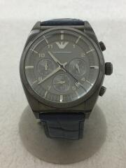 クォーツ腕時計/アナログ/レザー/シルバー/ブルー/AR-1650