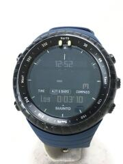 ソーラー腕時計/デジタル/ラバー/BLK/NVY