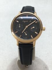 クォーツ腕時計/アナログ/レザー/VD75-KGZ0