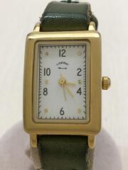 クォーツ腕時計/アナログ/レザー/WHT/GRN/小傷、レザー使用感有