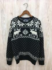 セーター(厚手)/ニット/L/ウール/BLK/総柄/雪/鹿