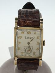 GRUEN/40年代/10K/金張り/手巻腕時計/アナログ/レザー/GLD/BRW