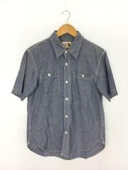 半袖シャツ/M/コットン/BLU/AT30700