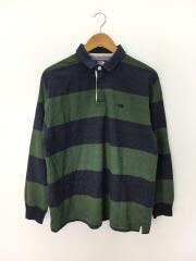 L/S Rugby Shirt/ラガーシャツ/S/コットン/GRN/ボーダー/NT3912N